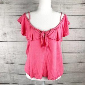 BOLD Elements   Bright Pink Cold Shoulder Top
